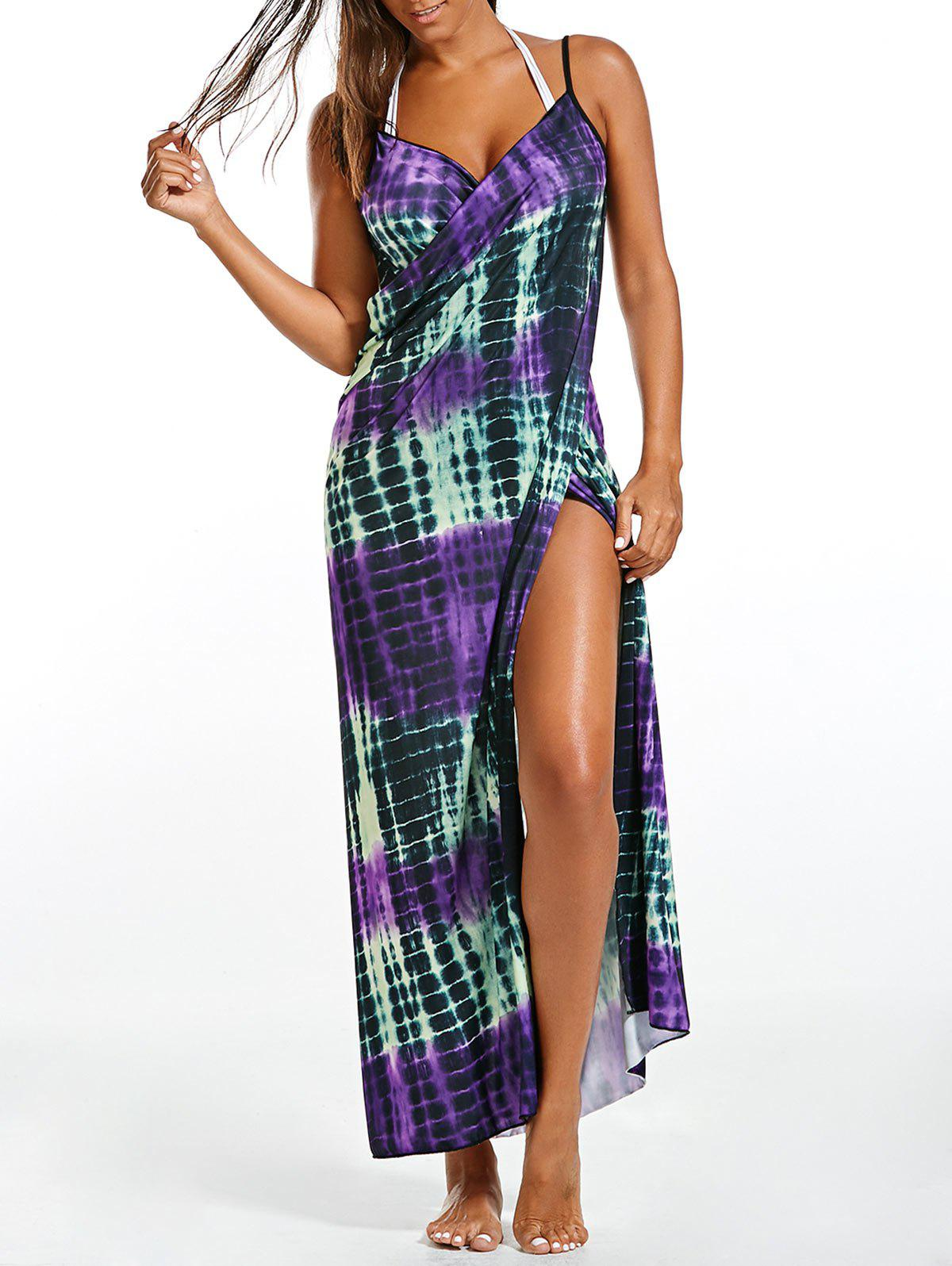 Wrap Cover Up Dress with Illusion Print - PURPLE ONE SIZE