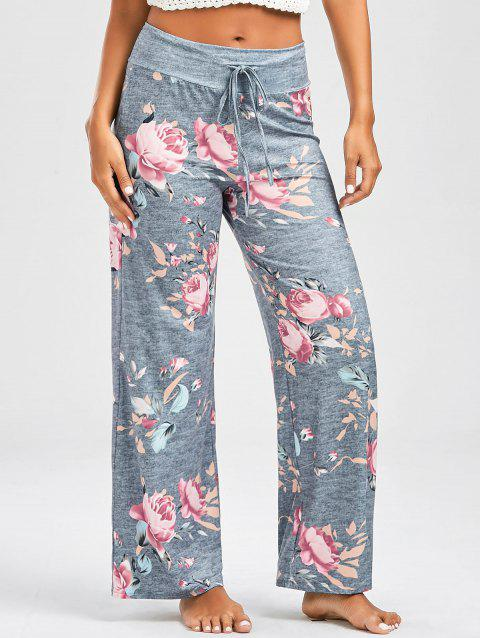 Casual Floral Print Drawstring Pants - LIGHT GRAY S