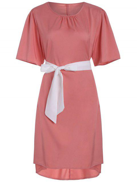 1966768a228c6 41% OFF  2019 Plus Size High Low Dress with Pussy Bow Scarf In PINK ...