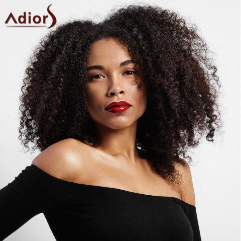 Center Parting Short Shaggy Afro Kinky Curly Synthetic Wig - BROWN
