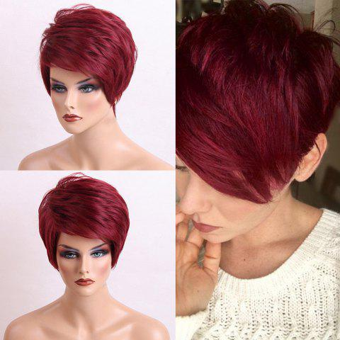 Short Side Bang Shaggy Layered Textured Straight Human Hair Wig - WINE RED