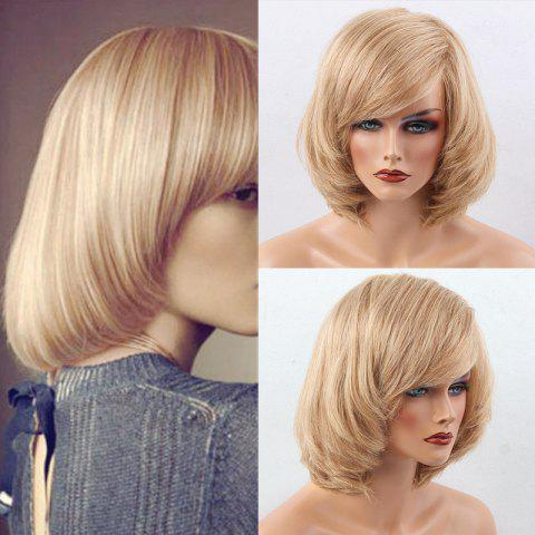Short Side Bang Straight Bob Human Hair Wig - BLONDE