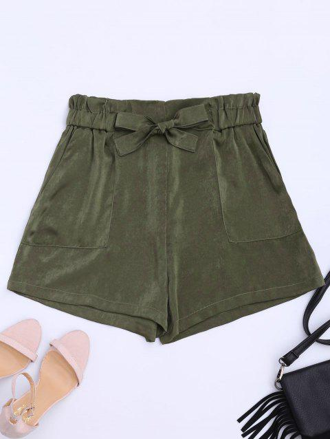 Self Tie Casual Shorts - ARMY GREEN L