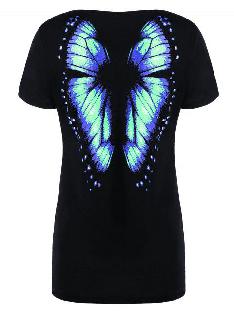 Butterfly Print Short Sleeve Tee - MINT XL