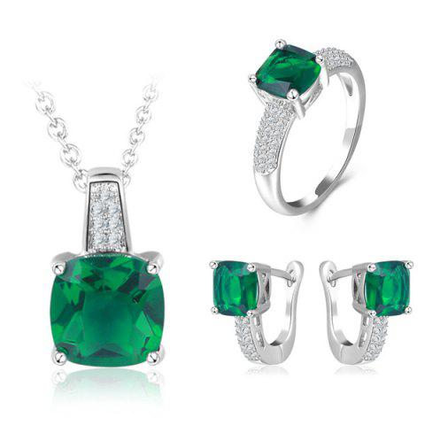 Faux Emerald Horseshoe Earrings Necklace with Ring - GREEN