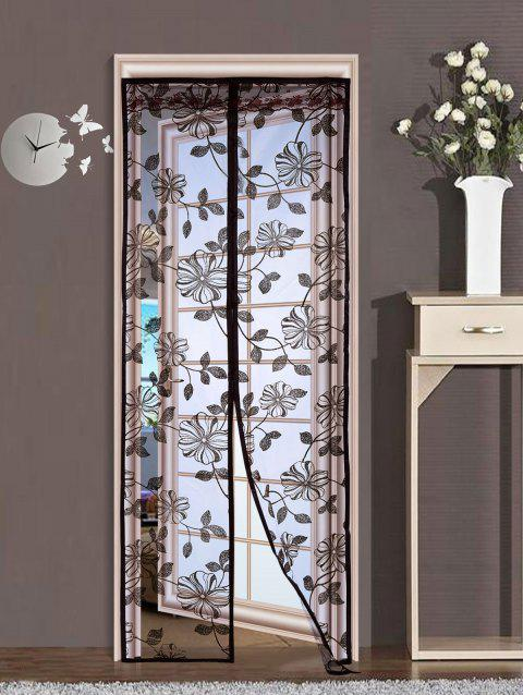 Anti Insect Floral Mesh Magnetic Door Curtain - COFFEE 100*210CM