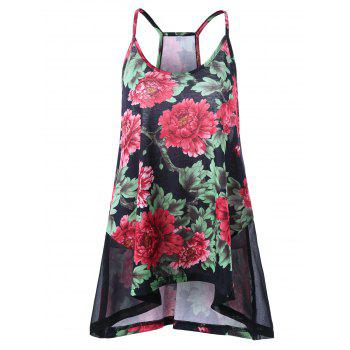 Floral Plus Size Mesh Insert Tunic Camisole