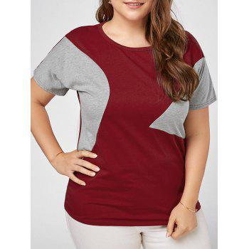 Plus Size Color Block Basic T-shirt