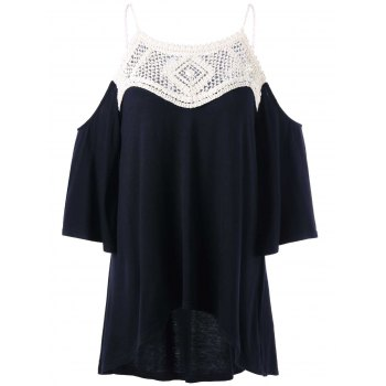 Dew Shoulder Crochet Trim High Low Blouse