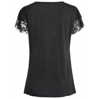 Lace Trim Angel Print Plus Size Tee - BLACK BLACK