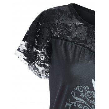 Lace Trim Angel Print Plus Size Tee - BLACK 5XL