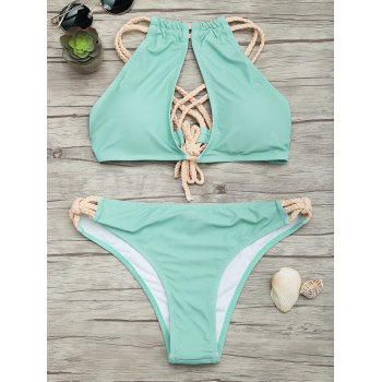 Criss Cross Braided Straps Bikini Set