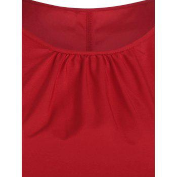 Plus Size High Low Dress with Pussy Bow Scarf - RED 4XL