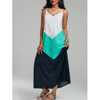 Criss-cross Color Block Maxi Slip Dress