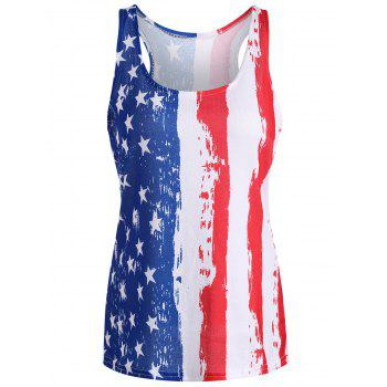 Print American Flag Patriotic Tank Top - RED L