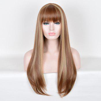 Full Bang Highlight Long Silky Straight Colormix Synthetic Wig