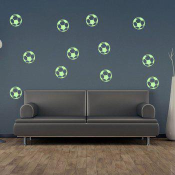 Cartoon Luminous Football Décoration murale pour enfants - Fluorescente Verte 12PCS
