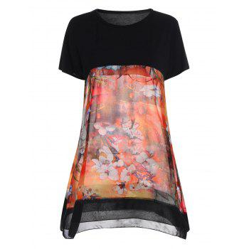 Plus Size Printed Block Long T-shirt