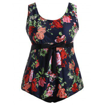 Padded Floral High Waisted Plus Size Bathing Suit - MULTI 3XL