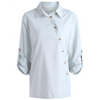 Button Up Long Sleeve Plus Size Shirt