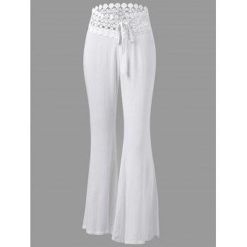 Crochet Trim Drawstring Flare Pants