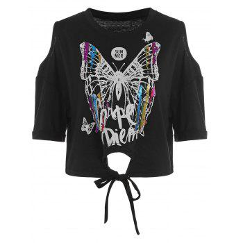 Cold Shoulder Butterfly Print Self Tie Tee