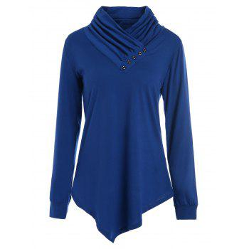 Heaps Collar Buttons Long Sleeves T-shirt