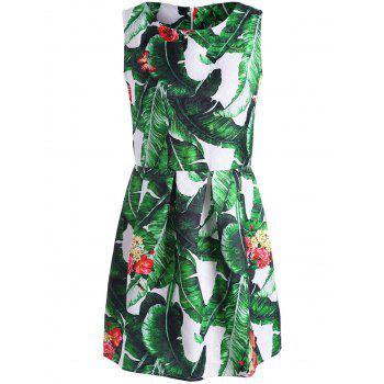 Palm Leaf Print Mini Sleeveless Dress