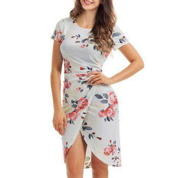 Knotted Fitted Floral Slit Dress