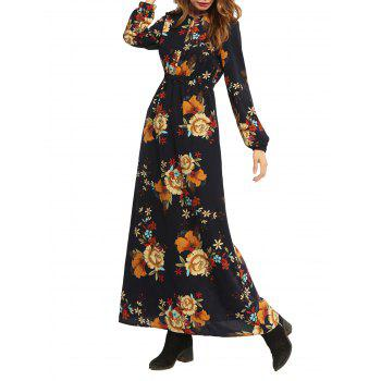 Maxi High Waist Flower Print Dress
