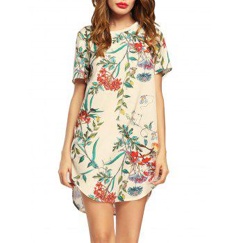 Short Sleeve Flower Print Tunic Dress