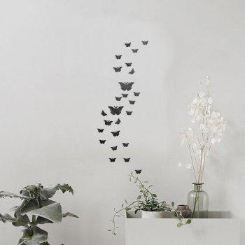 25 PCS Butterflies Decorative Removable Mirror Wall Decals - BLACK