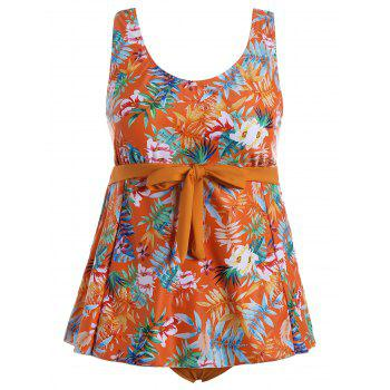 Tropical Print Padded Plus Size Bathing Suit