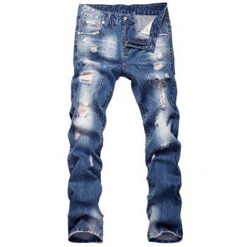 Faded Zipper Fly Straight Leg Distressed Jeans