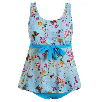 Floral Butterfly Print Padded Plus Size Bathing Suit