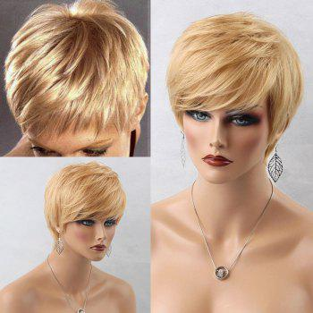 Layered Short Side Bang Straight Human Hair Wig - BLONDE BLONDE