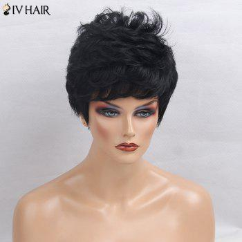 Siv Hair Side Bang Short Layered Textured Perruque de cheveux légèrement bouclés - JET NOIR