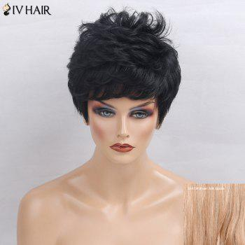 Siv Hair Side Bang Short Layered Textured Slightly Curly Human Hair Wig - BROWN WITH BLONDE BROWN/BLONDE