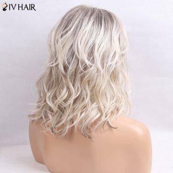 Siv Hair Medium Inclined Bang Perruque de cheveux humains Colormix légèrement bouclée - GRIS/ BLANC