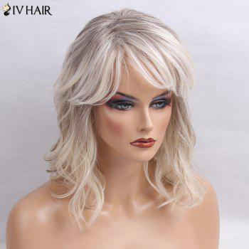 Siv Hair Medium Inclined Bang Slightly Curly Colormix Human Hair Wig -  GRAY / WHITE