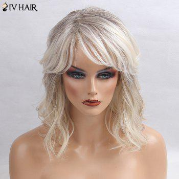 Siv Hair Medium Inclined Bang Slightly Curly Colormix Human Hair Wig - GRAY + WHITE GRAY / WHITE