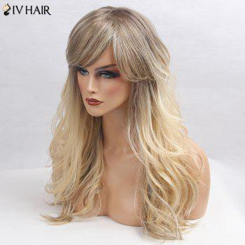 Siv Hair Side Bang Shaggy Long Wavy Colormix Human Hair Wig -  GRAY