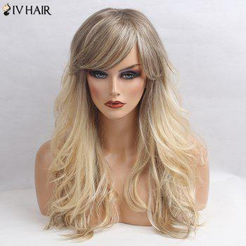 Siv Hair Side Bang Shaggy Long Wavy Colormix Human Hair Wig - GRAY GRAY