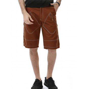 Rhombus Pockets Zipper Fly Cargo Shorts
