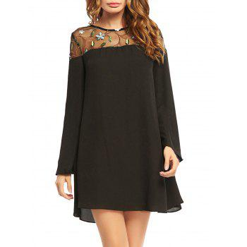 Embroideried Lace Trim Chiffon Long Sleeve Dress