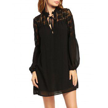 Long Puff Sleeve Chiffon Dress with Lace Trim