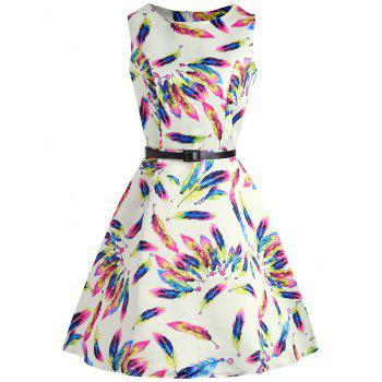 Colorful Feather Print Sleeveless Dress