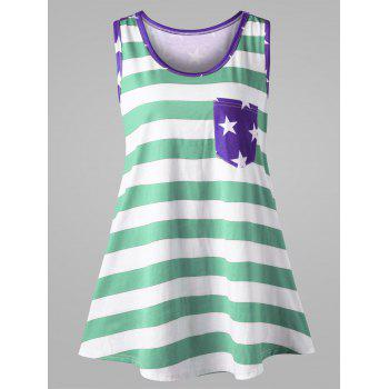 Plus Size American Flag Bowknot Embellished Tank Top - MINT XL