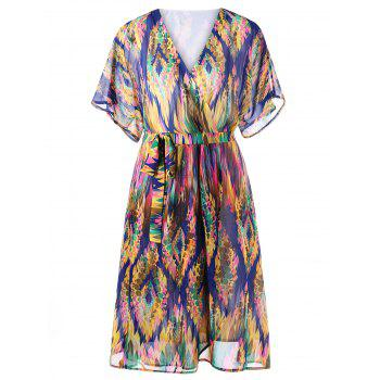 Tie Belt Graphic Surplice Dress