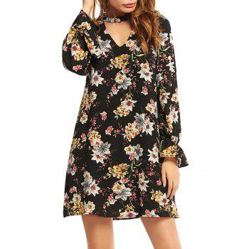 Long Sleeve Flower Print Choker Dress